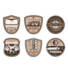 Auto service retro badge of car repair shop design vector