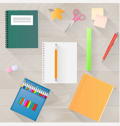 back to school a set of stationery with a long vector image