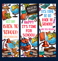 Back to school learning sketch banners vector