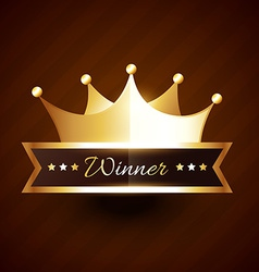 Beautiful golden crown design with winner text vector
