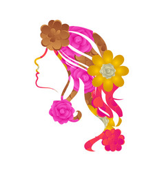 beauty girl avatar with flowers vector image