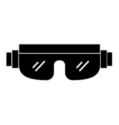 Black icon snowboard protective glasses vector