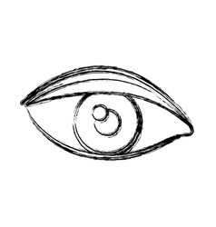 Blurred silhouette drawing of eye with eyebrow vector