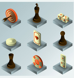 Board game color gradient isometric icons vector