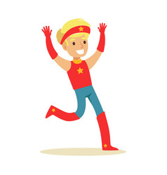 Boy pretending to have super powers dressed in red vector