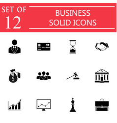 business solid icon icon set finance managment vector image