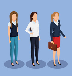 Business women isometric avatars vector