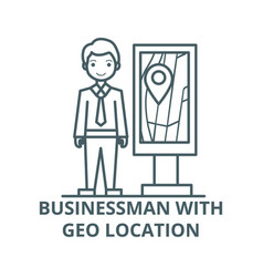 businessman with geo location line icon vector image
