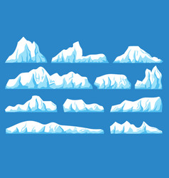Cartoon floating iceberg set ocean ice vector