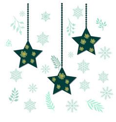 christmas holiday hanging stars vector image