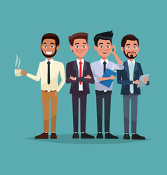 Color background full body set of men characters vector