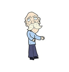 comic cartoon lonely old man vector image