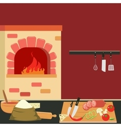 Commercial Kitchen Interior with Bake and Cutlery vector image