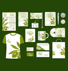 Corporate identity olive oil company templates set vector