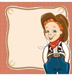 Cowboy child with western traditional clothes vector