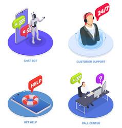 Customer service isometric icon set vector