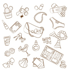 cute doodle female things vector image