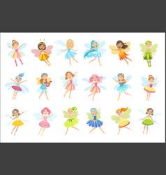 Cute fairies in pretty dresses girly cartoon vector