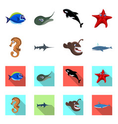 Design of sea and animal icon set of sea vector