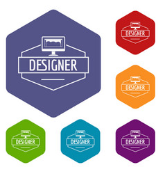 Designer icons hexahedron vector