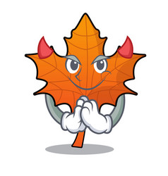 devil red maple leaf mascot cartoon vector image