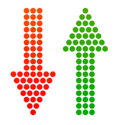 Down and up arrows made from dots vector