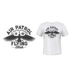 eagle flying club t-shirt print mockup air patrol vector image
