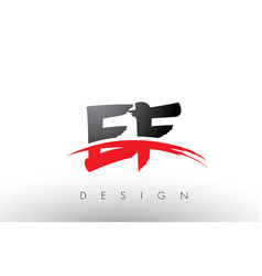 ef e f brush logo letters with red and black vector image