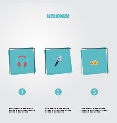 flat icons tambourine karaoke earphone and other vector image