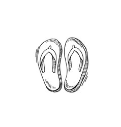 flip flops sketch drawing icon summer themed vector image