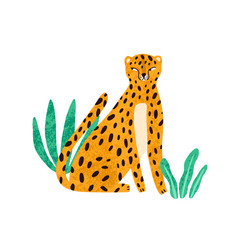 Funny cunning leopard sitting in exotic plants vector