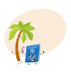 funny palm tree and passport characters vector image