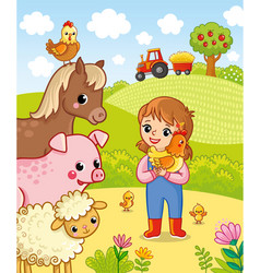 girl farmer holding a chicken in his hands vector image