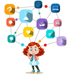 Girl with science icons diagram vector image