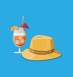 glass of cold drink men straw hat vector image