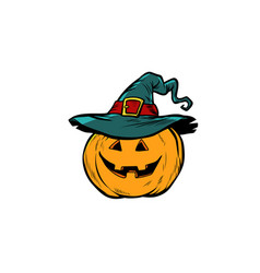 halloween pumpkin in hat vector image