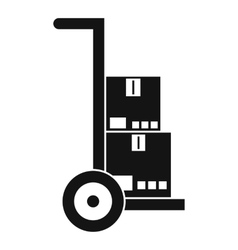 Hand cart with cardboards icon simple style vector