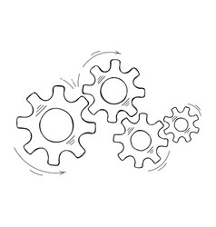 hand drawn mechanical cog and gear sketch graphic vector image