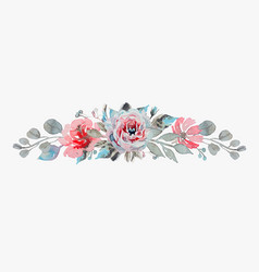handmade watercolor bouquet flowers - rose vector image