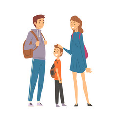 happy family travelling together mother father vector image