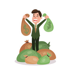 happy millionaire character standing in the pile vector image