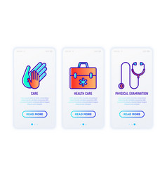Hiv and aids thin line icons set child hand vector