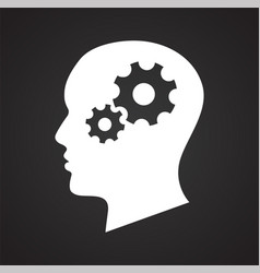 Human head with gears icon on black background for vector