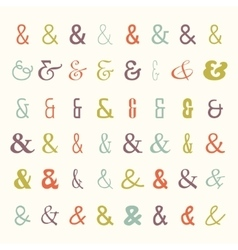 Icon set colored ampersands vector