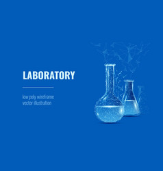 laboratory concept low poly blue vector image