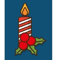 Leaves candle merry christmas design vector
