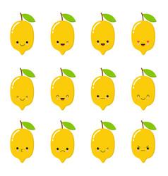 lemon cute fruit character set isolated on vector image