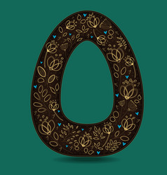 Letter o with golden floral decor vector