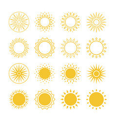 line and silhouettes sun icons collection vector image
