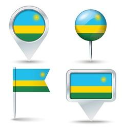 Map pins with flag of Rwanda vector